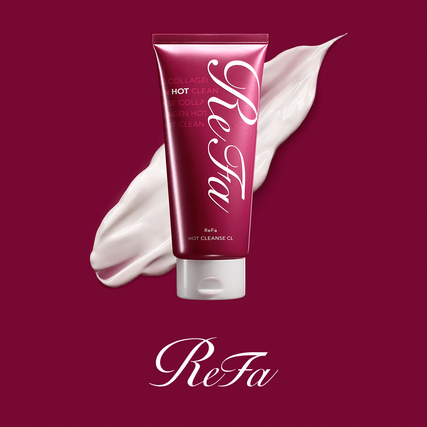 The new evolution in ReFa collagen beauty care. A rich thermal cleansing cream featuring two types of collagen. Introducing ReFa HOT CLEANSE CL.