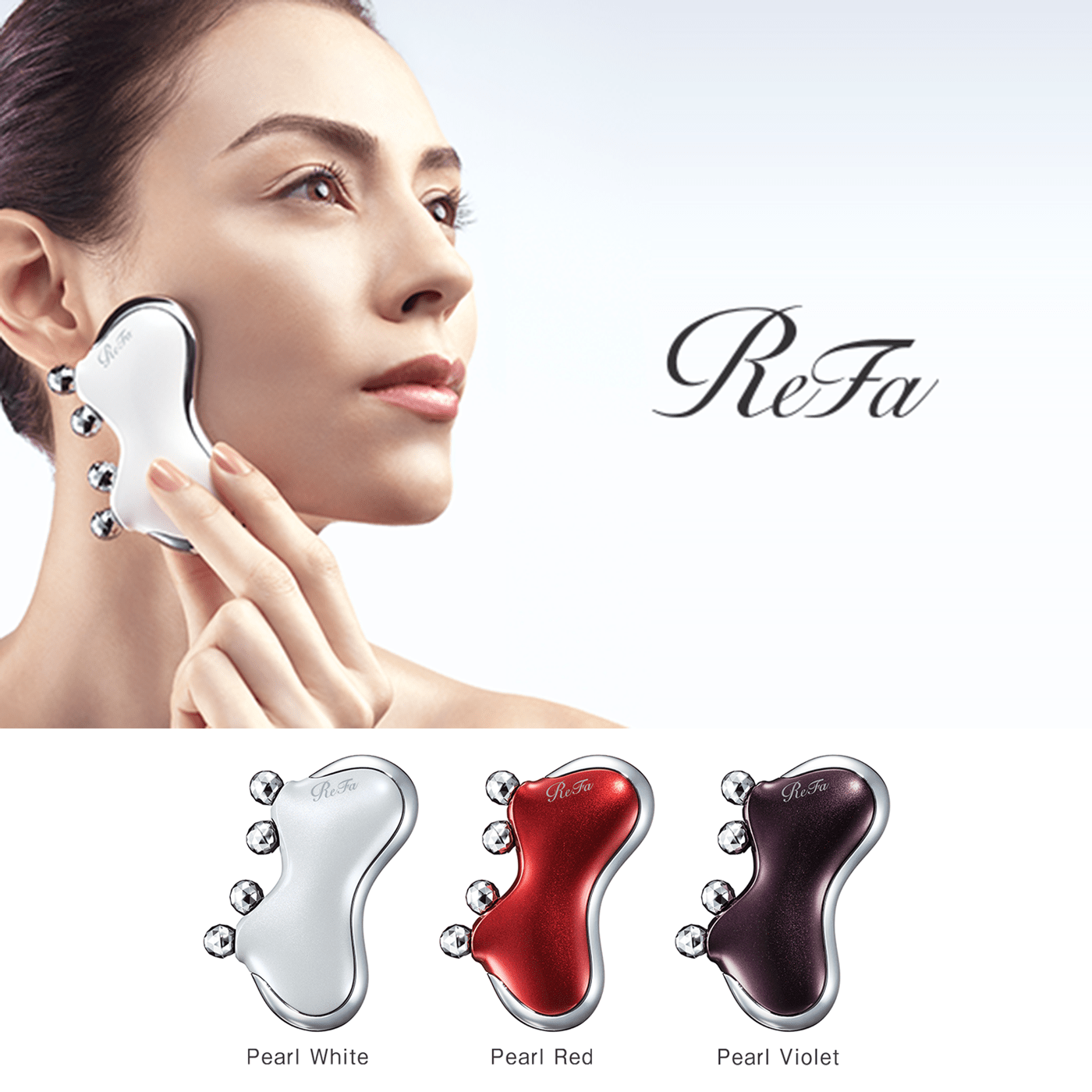 Introducing the ReFa CAXA M1 with all-new Quick Release Lift<sup>1</sup> action. Intensive beauty care for the cheeks, made easy.