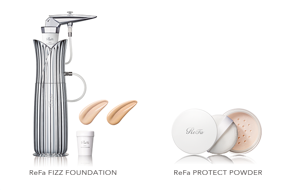 Introducing ReFa's first makeup product! A fusion of foundation and carbonated mist, ReFa FIZZ FOUNDATION helps make your face look beautiful, slimmer and more contoured.